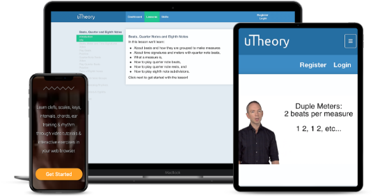 uTheory running on a phone, tablet and computer